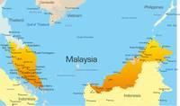 Landkarte von Malaysia.